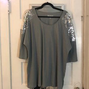 Women's 2X 18/20 Sequin Detail Cotton Tunic Tee